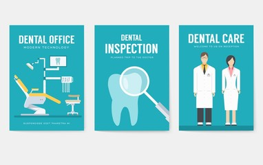 Dental office interior information cards set. Hygiene template of flyear, magazines, posters, book cover, banners. Clinic infographic concept background. Layout dentistry illustrations modern pages