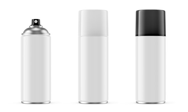 White spray paint metal cans isolated on white