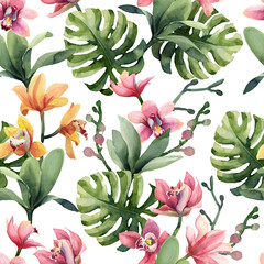 Seamless pattern of yellow, rose orchid flowers and monstera leaves isolated on white background.