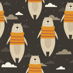 Seamless pattern, bears in sweaters, clouds, hand drawn overlapping backdrop. Colorful background vector. Illustration with animals, sky. Decorative wallpaper, good for printing
