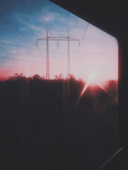 electrical post at sunset