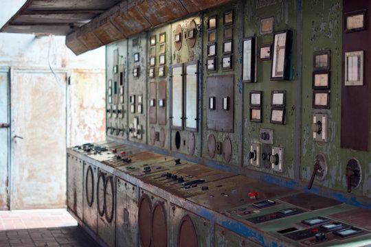 Cold war soviet power plant control room