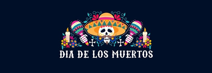 Dia de los muertos greeting card festive design vector illustration. Mexican day of dead banner with skull in sombrero and maracas with floral composition flat style concept