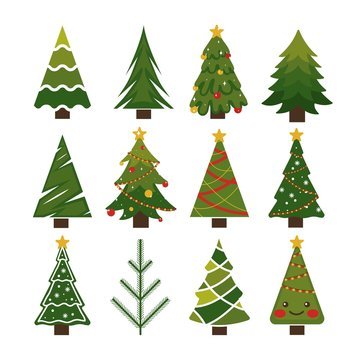 Beautiful celebration christmas trees set vector illustration. Colorful cartoon decorated xmas pines. New Years fir-tree with garland, bright toys, snowflakes, serpentine flat style. Isolated on white