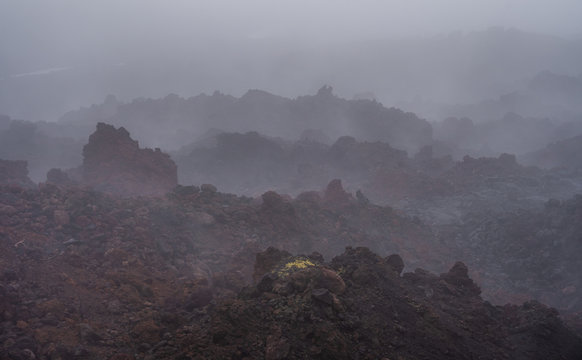 The active lava flow from a new crater on the slopes of volcanoes Tolbachik - Kamchatka, Russia