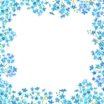 Forget me not flowers watercolor background