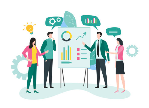 Business meeting and project brainstorming concept. Illustration for website, landing page, business presentation and infographic