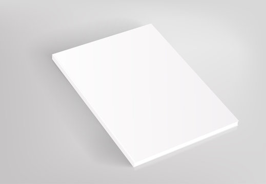 Blank hardcover white book vector mockup