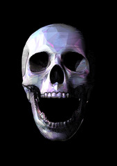 Engraving colorful low poly skull vector illustration isolated on dark BG