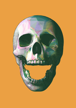 Engraving colorful low poly skull vector illustration isolated on yellow BG