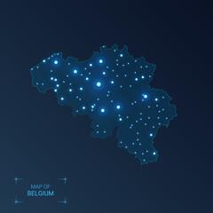 Belgium map with cities. Luminous dots - neon lights on dark background. Vector illustration.