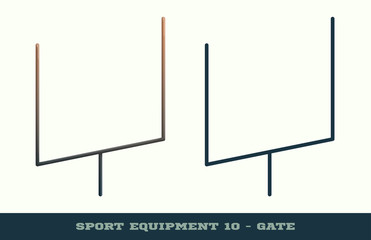 Vector rugby gate icon. Game equipment. Professional sport, classic american football gates for official competitions and tournaments. Isolated illustration