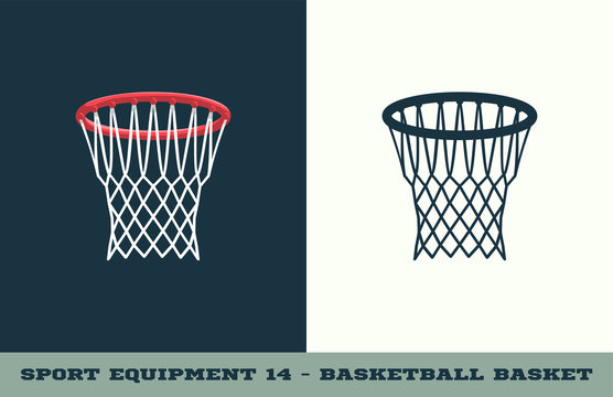 Vector basketball basket icon. Game equipment. Professional sport, classic basket for official competitions and tournaments. Isolated illustration