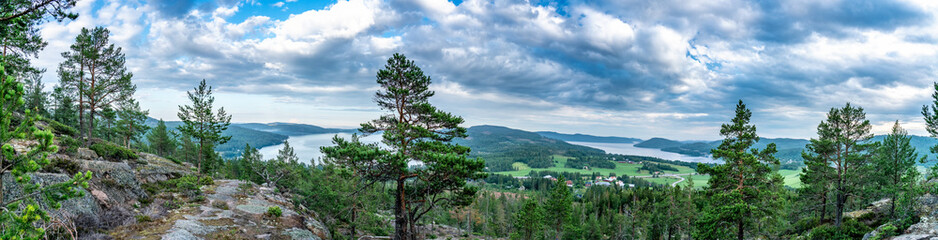 Wall Murals Northern Europe Very wide panorama over wild Scandinavian mountains with pine tree forest, the village and two sea bays, summer day with heavy dramatic clouds, North Sweden