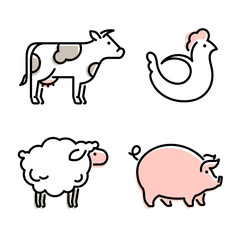 Farm animals vector icon. Sheep, cow, pig and chicken linear icons.