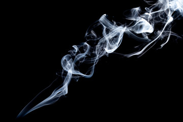 Aluminium Prints Smoke blue smoke isolated on a black background. template for design