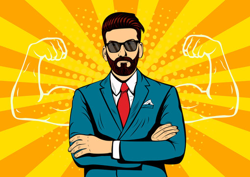Hipster beard businessman with muscles pop art retro style. Strong Businessman in glasses in comic style. Success concept vector illustration.
