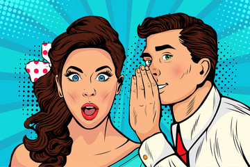 Man whispering gossip or secret to his girlfriend or wife. Colorful illustration in pop art retro comic style.  Fotobehang