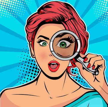 The woman is a detective looking through magnifying glass search. Vector illustration in pop art retro comics style