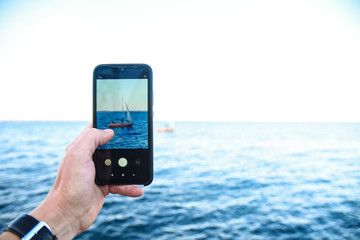 phone photography of a sailboat