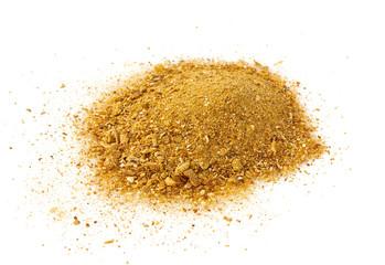 dried boletus edulis powder isolated on white background