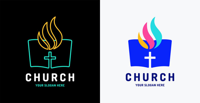 Church vector logo. The open bible and Holy Spirit fire flame