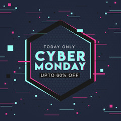 Typography of Cyber Monday with 60% discount offer on abstract hexagon pattern background can be used as poster design.