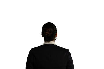Back view of young businesswoman