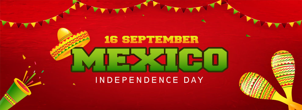 Website header or banner design with illustration of sombrero hat, maracas and party popper on red background for 16 September, Mexico Independence Day celebration.