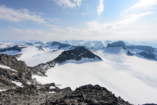 Awesome winter view from Galdhopiggen mountain in Jotunheimen