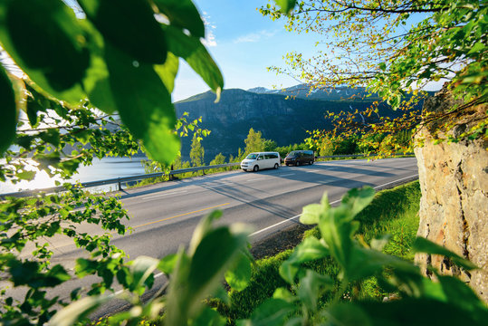 Vacation travel with friend, holiday Norway road trip. Beautiful Nature Norway natural landscape.
