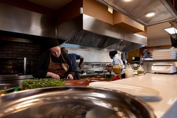 Chefs working in restaurant kitchen