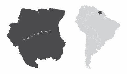 The Suriname map and its location in South America