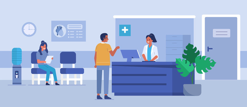 Man character talking with the woman receptionist at the hospital room. Patient waiting for the doctor. Doctor's office reception. Medical clinic concept. Flat cartoon vector illustration.