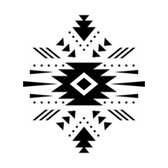 Aztec vector element, ethnic hand drawn ornament. Tribal design, geometric symbol for border, frame, tattoo, logo, card, decorative paper. Navajo motif, isolated on white background.