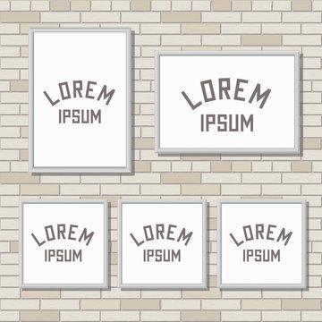5 mock up frames on light brick wall, vector illustration, 3X4, 4X3, square