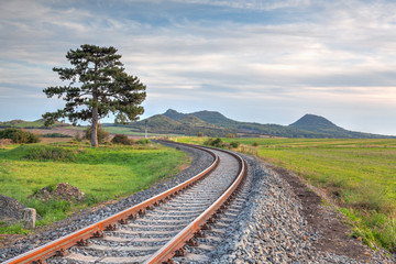 Single railway tracks in Central Bohewmian Uplands, Czech Republic
