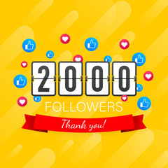 Thank you 2000 followers numbers. Congratulating multicolored thanks image for net friends likes.