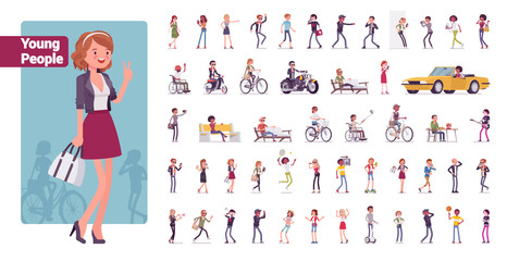 Young folks big bundle character set. Active people of nice appearance wearing modern clothing enjoying youth, life in sport and misic Vector flat style cartoon illustration isolated, white background