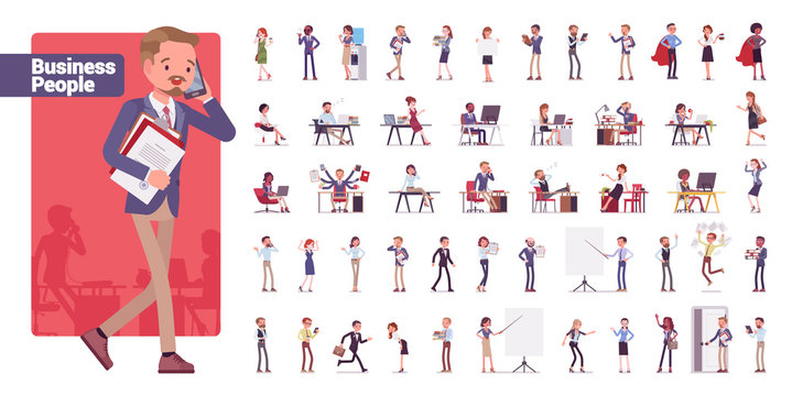 Business people big bundle character set. Businessmen and businesswomen employed in company, working in office, white collar jobs. Vector flat style cartoon illustration isolated on white background