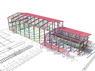 Obraz BIM building model of columns, beams, ties, girders. The metal structures are welded and bolted together. 3D rendering. The drawing of the building structure is made by an engineer. - fototapety do salonu