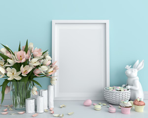 Blank photo frame for mockup on floor, easter concept, 3D rendering