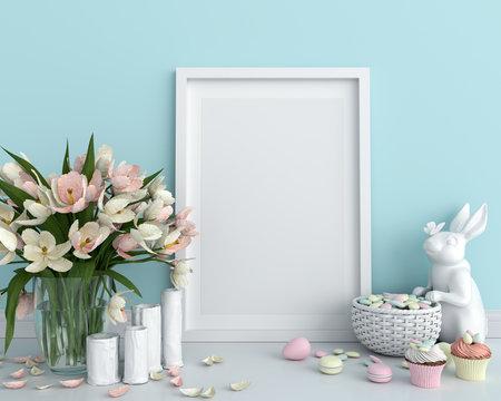Blank photo frame for mockup on floor, easter concept, 3D rendering