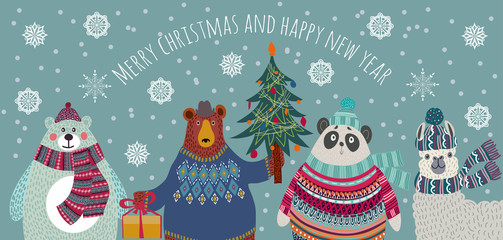 Merry Christmas and Happy New Year. Cute Animals Character. Happy friends - Bear, Polar Bear, panda and llama in winter greeting scene. Hand drawn vector