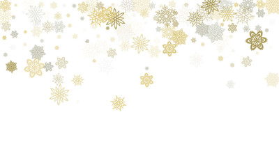 Gold silver platinum paper snowflakes flying vector winter background.
