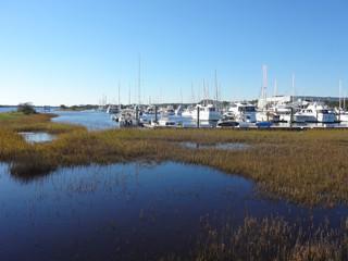 Boats docked in the Southport, North Carolina Marina