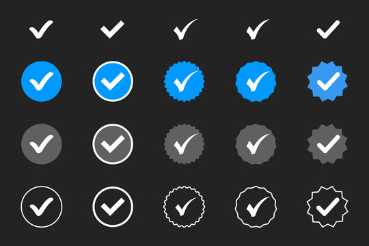 Profile Verification. Verified badge. Set of verified icon with social media verified badge style. Approved icon. Accept badge. Check mark. Approved, verified and protected icons set