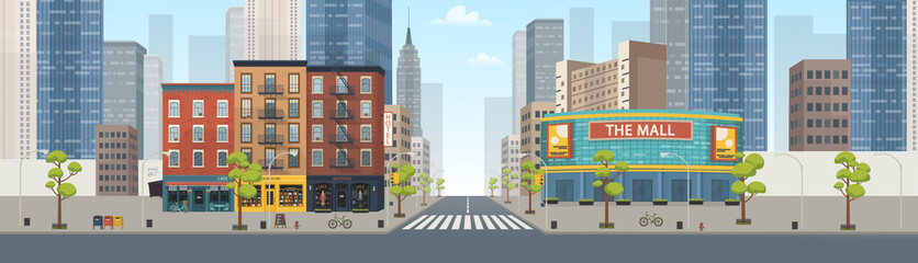 Papiers peints Cartoon voitures Panorama city building houses with shops: boutique, cafe, bookstore, mall .Vector illustration in flat style.