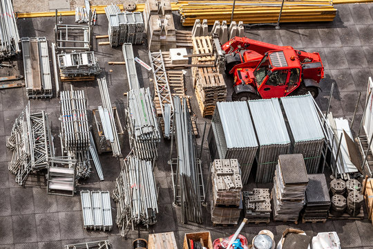 Aerial view of construction site with iron scuffolders