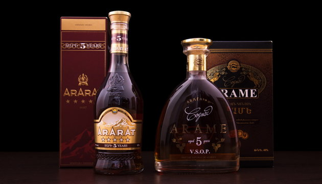 Tbilisi, Georgia, March 1, 2016: A bootle of cognac Ararat and Arame .  Two  very famous and popular Armenian brandy names